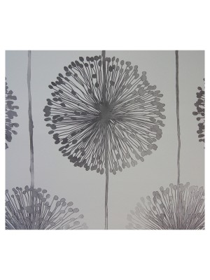 Behang bloem wit/zilver outlet behang (papier)