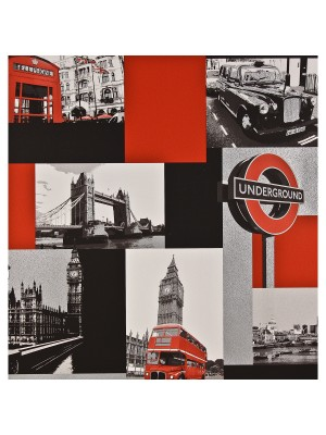 Behang Londen zwart/rood outlet behang (papier)