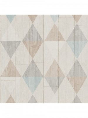 Collage hout / ruit beige / aqua