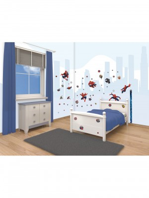 Decor Kit Spiderman kinderkamer, interieurstickers (34cm x 46cm, blauw)