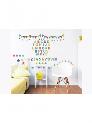 Wall stickers ABC kinderkamer, interieurstickers (34cm x 46cm, multicolor)
