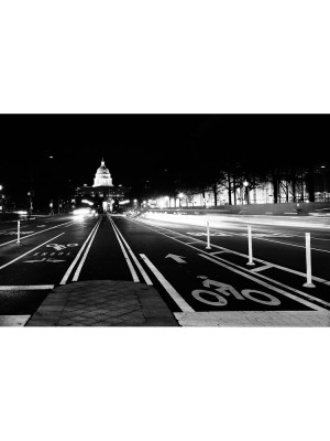 City Love Washington DC zwart wit, 9-delig fotobehang (270cm x 418,5cm, zwart-wit)
