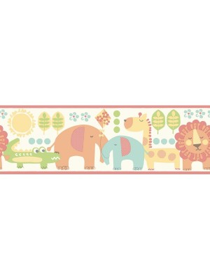 Carousel rand 5m Jungle Friends oranje kinderkamer (papierbehang