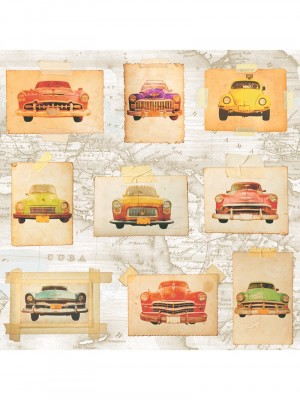 Royal Dutch 6 schuimvinyl Oldtimer kleur behang (vinylbehang, oranje)