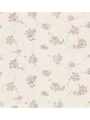 Dollhouse 3 Floral Trail roze/paars  behang (vlakvinyl