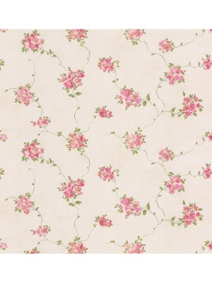 Dollhouse 3 Floral Trail rood/creme  behang (vlakvinyl