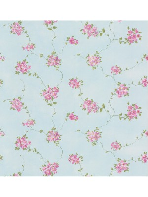 Dollhouse 3 Floral Trail paars/blw  behang (vlakvinyl