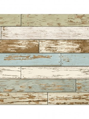 Reclaimed Scrap Wood beige/groen/bl. behang (vliesbehang, beige)