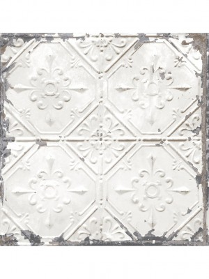 Reclaimed Tin Ceiling wit behang (vliesbehang, wit)