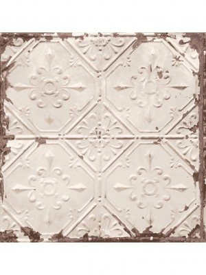 Reclaimed Tin Ceiling creme behang (vliesbehang, creme)