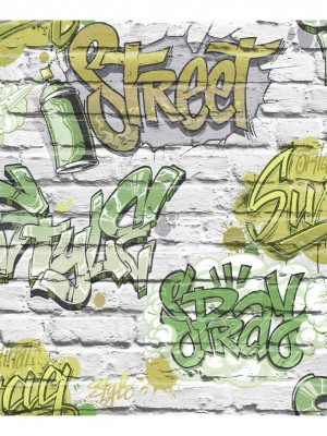 Freestyle baksteen wit/graffiti groen behang (papierbehang, wit)