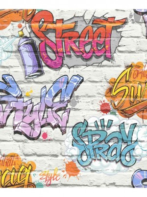 Freestyle baksteen wit/graffiti blw/lila behang (papierbehang, wit)