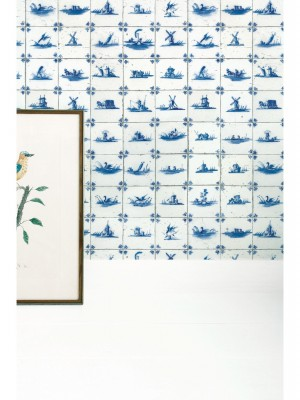 KEK Royal Blue Tiles behang (vliesbehang, blauw)