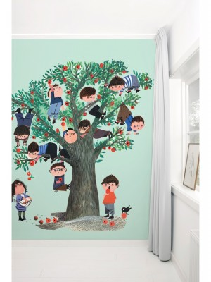 KEK Apple Tree, 5-delig kinderbehang - multicolor vliesbehang (280cm x 243,5cm per mural)