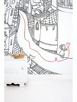 KEK Little girl drawing, 6-delig kinderbehang - multicolor vliesbehang (280cm x 292,2cm per mural)